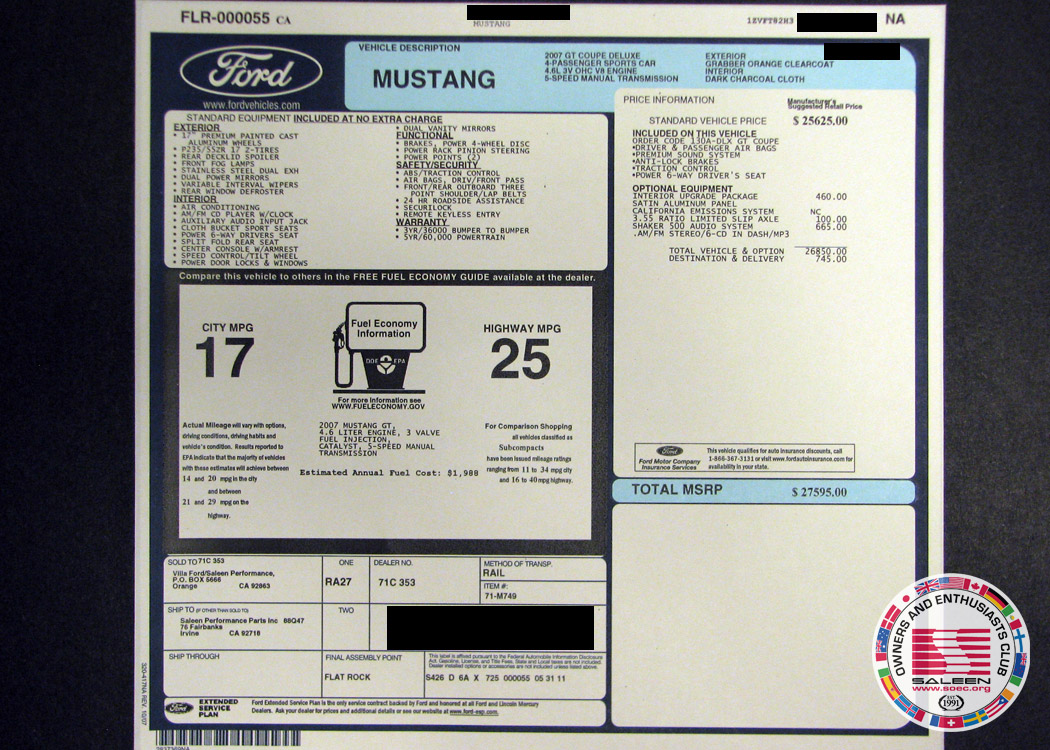 Replacement Ford Monroney Label Pictures The Saleen Forums At Soec Org